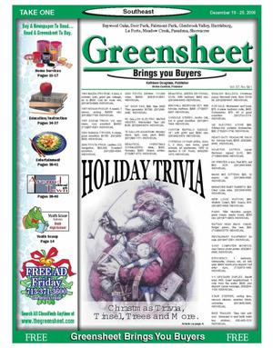 Primary view of object titled 'Greensheet (Houston, Tex.), Vol. 37, No. 541, Ed. 1 Tuesday, December 19, 2006'.