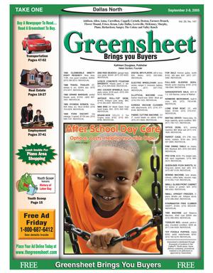 Primary view of object titled 'Greensheet (Dallas, Tex.), Vol. 29, No. 147, Ed. 1 Friday, September 2, 2005'.