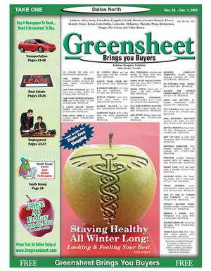 Primary view of object titled 'Greensheet (Dallas, Tex.), Vol. 29, No. 231, Ed. 1 Friday, November 25, 2005'.
