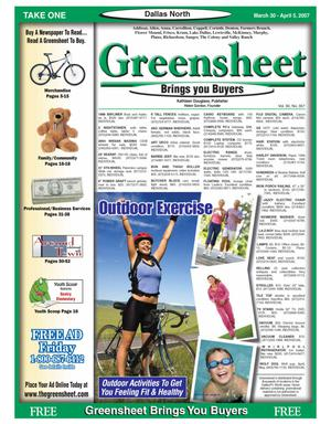 Primary view of object titled 'Greensheet (Dallas, Tex.), Vol. 30, No. 357, Ed. 1 Friday, March 30, 2007'.