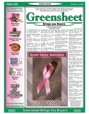 Primary view of object titled 'Greensheet (Dallas, Tex.), Vol. 30, No. 182, Ed. 1 Friday, October 6, 2006'.