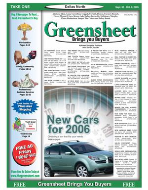 Primary view of object titled 'Greensheet (Dallas, Tex.), Vol. 29, No. 175, Ed. 1 Friday, September 30, 2005'.