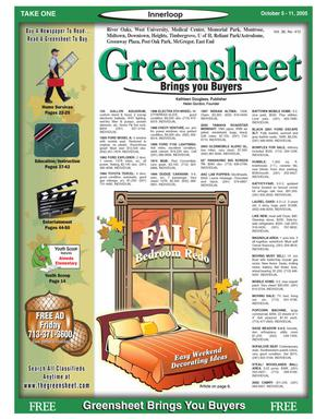 Primary view of object titled 'Greensheet (Houston, Tex.), Vol. 36, No. 412, Ed. 1 Wednesday, October 5, 2005'.