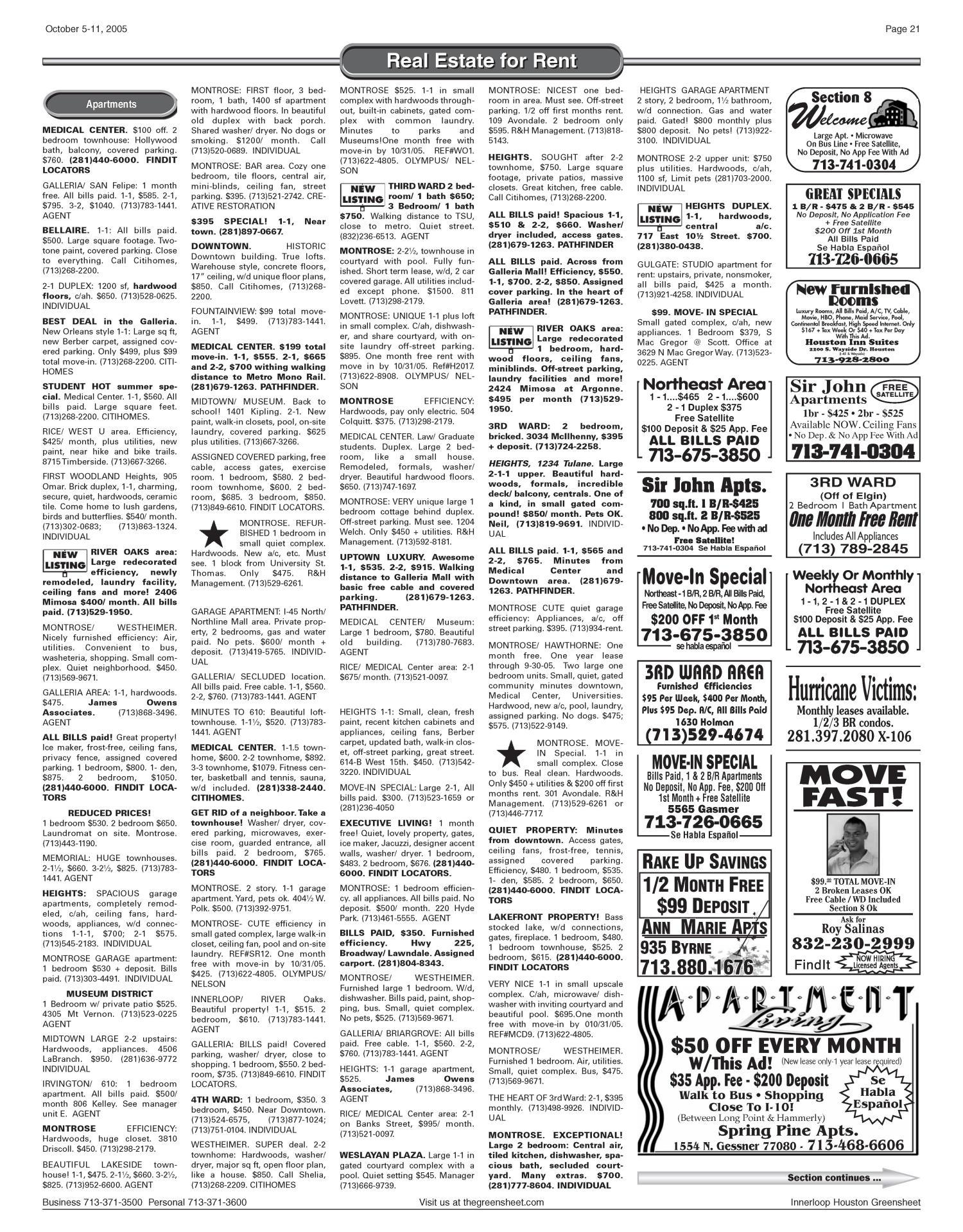 Greensheet (Houston, Tex ), Vol  36, No  412, Ed  1 Wednesday