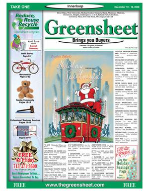 Primary view of object titled 'Greensheet (Houston, Tex.), Vol. 39, No. 532, Ed. 1 Wednesday, December 10, 2008'.