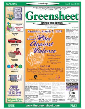 Primary view of object titled 'Greensheet (Houston, Tex.), Vol. 40, No. 40, Ed. 1 Wednesday, February 25, 2009'.