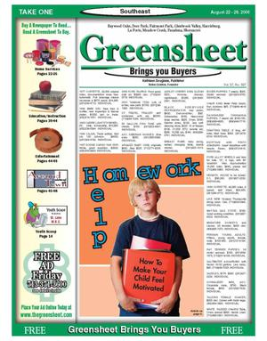 Primary view of object titled 'Greensheet (Houston, Tex.), Vol. 37, No. 337, Ed. 1 Tuesday, August 22, 2006'.