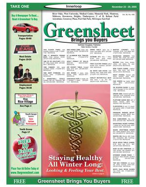 Primary view of object titled 'Greensheet (Houston, Tex.), Vol. 36, No. 496, Ed. 1 Wednesday, November 23, 2005'.