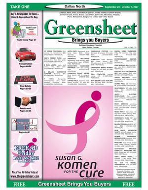 Primary view of object titled 'Greensheet (Dallas, Tex.), Vol. 31, No. 175, Ed. 1 Friday, September 28, 2007'.