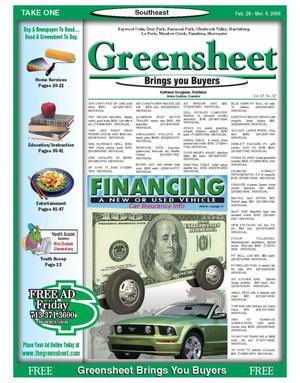Primary view of object titled 'Greensheet (Houston, Tex.), Vol. 37, No. 37, Ed. 1 Tuesday, February 28, 2006'.