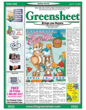Primary view of object titled 'Greensheet (Dallas, Tex.), Vol. 33, No. 7, Ed. 1 Friday, April 10, 2009'.