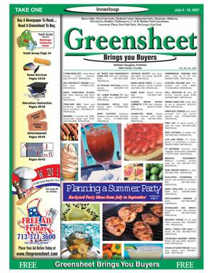 Primary view of object titled 'Greensheet (Houston, Tex.), Vol. 38, No. 256, Ed. 1 Wednesday, July 4, 2007'.