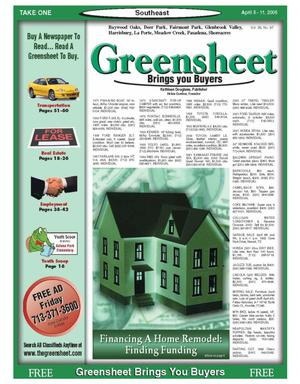 Primary view of object titled 'Greensheet (Houston, Tex.), Vol. 36, No. 97, Ed. 1 Tuesday, April 5, 2005'.