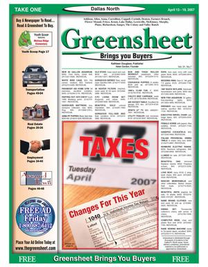 Primary view of object titled 'Greensheet (Dallas, Tex.), Vol. 31, No. 7, Ed. 1 Friday, April 13, 2007'.