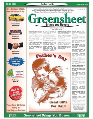 Primary view of object titled 'Greensheet (Dallas, Tex.), Vol. 29, No. 63, Ed. 1 Friday, June 10, 2005'.