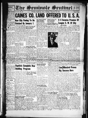Primary view of The Seminole Sentinel (Seminole, Tex.), Vol. 33, No. 44, Ed. 1 Thursday, December 12, 1940