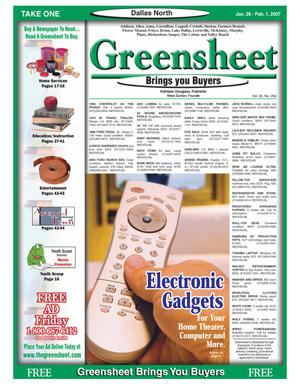 Primary view of object titled 'Greensheet (Dallas, Tex.), Vol. 30, No. 294, Ed. 1 Friday, January 26, 2007'.