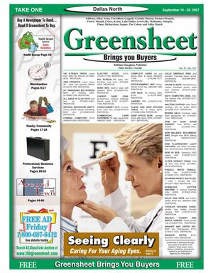 Primary view of object titled 'Greensheet (Dallas, Tex.), Vol. 31, No. 161, Ed. 1 Friday, September 14, 2007'.