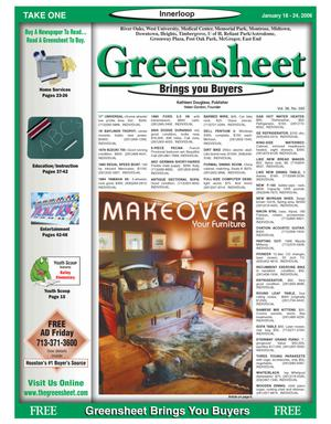 Primary view of object titled 'Greensheet (Houston, Tex.), Vol. 36, No. 592, Ed. 1 Wednesday, January 18, 2006'.