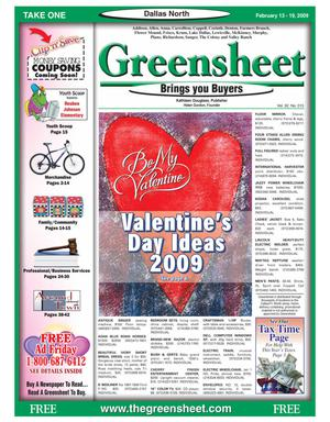 Primary view of object titled 'Greensheet (Dallas, Tex.), Vol. 32, No. 315, Ed. 1 Friday, February 13, 2009'.