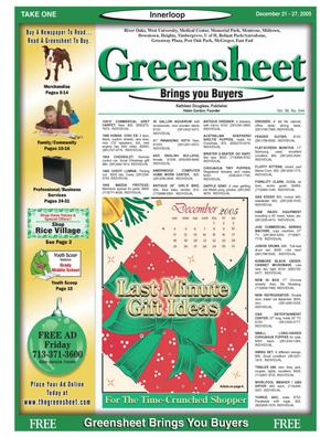Primary view of object titled 'Greensheet (Houston, Tex.), Vol. 36, No. 544, Ed. 1 Wednesday, December 21, 2005'.