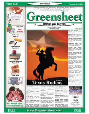 Primary view of object titled 'Greensheet (Houston, Tex.), Vol. 40, No. 28, Ed. 1 Wednesday, February 18, 2009'.