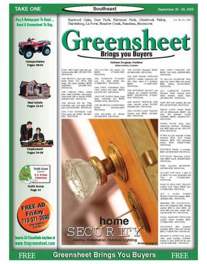 Primary view of object titled 'Greensheet (Houston, Tex.), Vol. 36, No. 385, Ed. 1 Tuesday, September 20, 2005'.