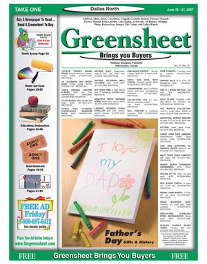 Primary view of object titled 'Greensheet (Dallas, Tex.), Vol. 31, No. 70, Ed. 1 Friday, June 15, 2007'.