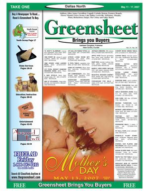 Primary view of object titled 'Greensheet (Dallas, Tex.), Vol. 31, No. 35, Ed. 1 Friday, May 11, 2007'.