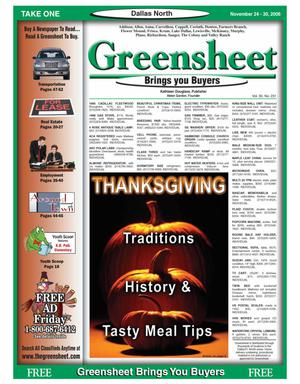 Primary view of object titled 'Greensheet (Dallas, Tex.), Vol. 30, No. 231, Ed. 1 Friday, November 24, 2006'.