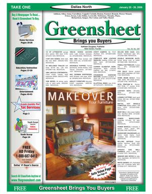 Primary view of object titled 'Greensheet (Dallas, Tex.), Vol. 29, No. 287, Ed. 1 Friday, January 20, 2006'.