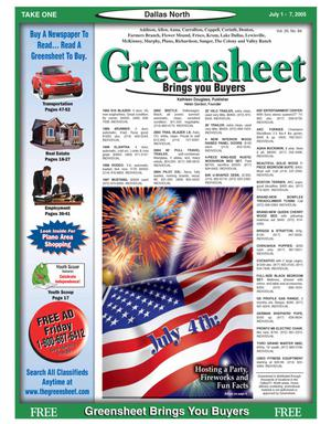 Primary view of object titled 'Greensheet (Dallas, Tex.), Vol. 29, No. 84, Ed. 1 Friday, July 1, 2005'.