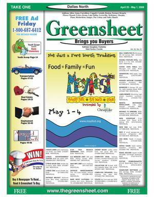 Primary view of object titled 'Greensheet (Dallas, Tex.), Vol. 32, No. 21, Ed. 1 Friday, April 25, 2008'.