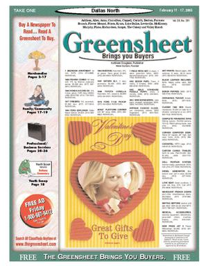 Primary view of object titled 'Greensheet (Dallas, Tex.), Vol. 28, No. 291, Ed. 1 Friday, February 11, 2005'.