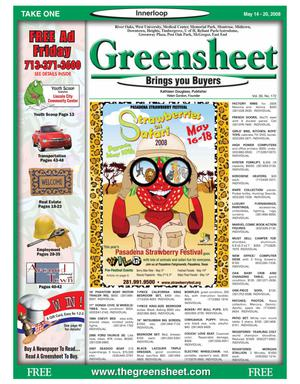 Primary view of object titled 'Greensheet (Houston, Tex.), Vol. 39, No. 172, Ed. 1 Wednesday, May 14, 2008'.