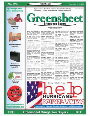 Primary view of object titled 'Greensheet (Houston, Tex.), Vol. 36, No. 361, Ed. 1 Tuesday, September 6, 2005'.