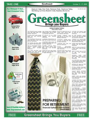 Primary view of object titled 'Greensheet (Houston, Tex.), Vol. 36, No. 421, Ed. 1 Tuesday, October 11, 2005'.