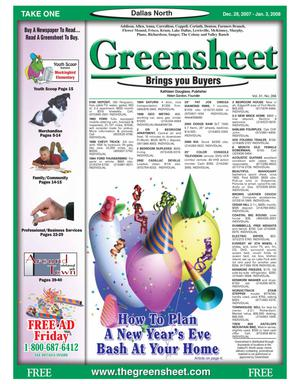 Primary view of object titled 'Greensheet (Dallas, Tex.), Vol. 31, No. 266, Ed. 1 Friday, December 28, 2007'.