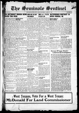 Primary view of object titled 'The Seminole Sentinel (Seminole, Tex.), Vol. 31, No. 26, Ed. 1 Thursday, August 25, 1938'.