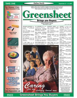 Primary view of object titled 'Greensheet (Dallas, Tex.), Vol. 31, No. 168, Ed. 1 Friday, September 21, 2007'.