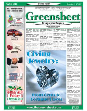 Primary view of object titled 'Greensheet (Dallas, Tex.), Vol. 31, No. 259, Ed. 1 Friday, December 21, 2007'.