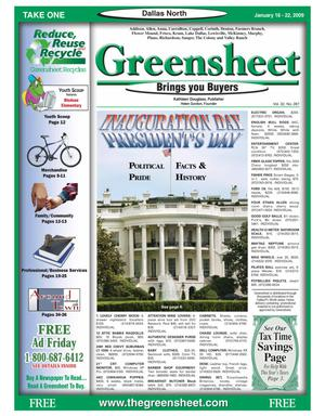 Primary view of object titled 'Greensheet (Dallas, Tex.), Vol. 32, No. 287, Ed. 1 Friday, January 16, 2009'.