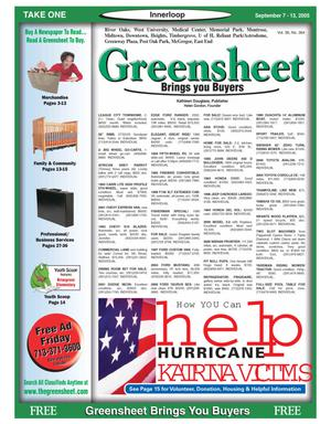 Primary view of object titled 'Greensheet (Houston, Tex.), Vol. 36, No. 364, Ed. 1 Wednesday, September 7, 2005'.