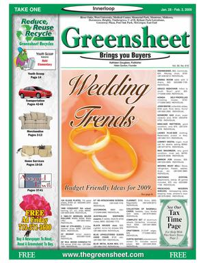 Primary view of object titled 'Greensheet (Houston, Tex.), Vol. 39, No. 616, Ed. 1 Wednesday, January 28, 2009'.