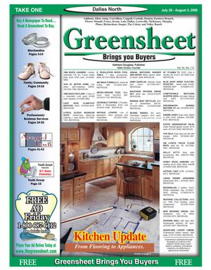 Primary view of object titled 'Greensheet (Dallas, Tex.), Vol. 30, No. 112, Ed. 1 Friday, July 28, 2006'.