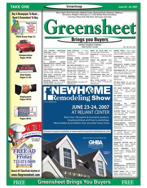 Primary view of object titled 'Greensheet (Houston, Tex.), Vol. 38, No. 232, Ed. 1 Wednesday, June 20, 2007'.