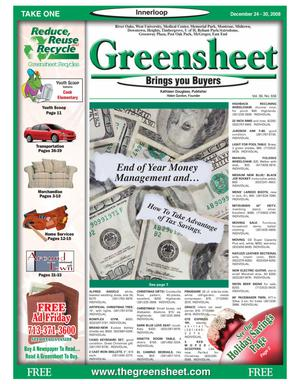 Primary view of object titled 'Greensheet (Houston, Tex.), Vol. 39, No. 556, Ed. 1 Wednesday, December 24, 2008'.