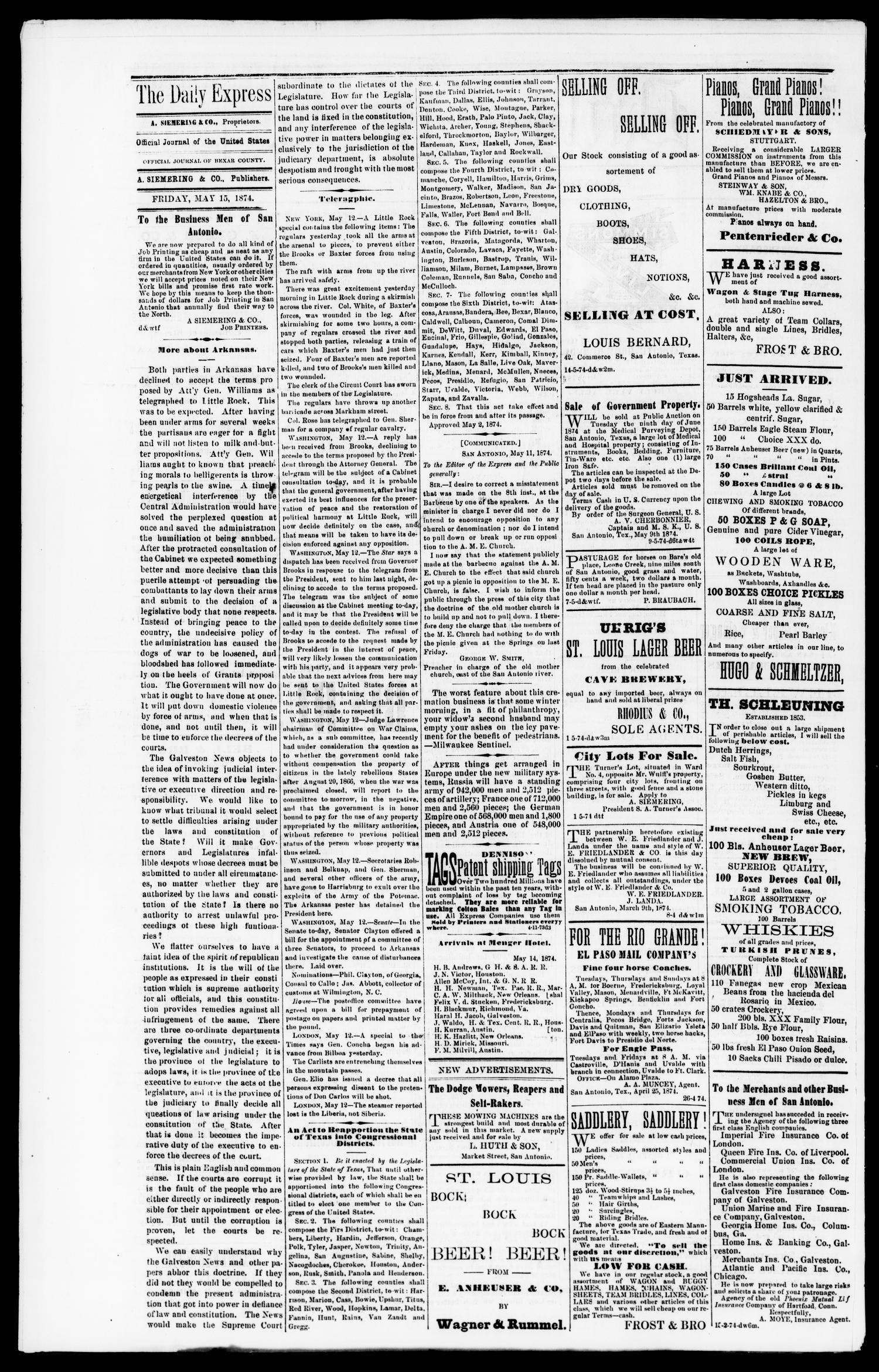 Daily Express. (San Antonio, Tex.), Vol. 8, No. 114, Ed. 1 Friday, May 15, 1874                                                                                                      [Sequence #]: 2 of 4