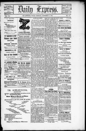 Primary view of Daily Express. (San Antonio, Tex.), Vol. 8, No. 152, Ed. 1 Monday, October 12, 1874