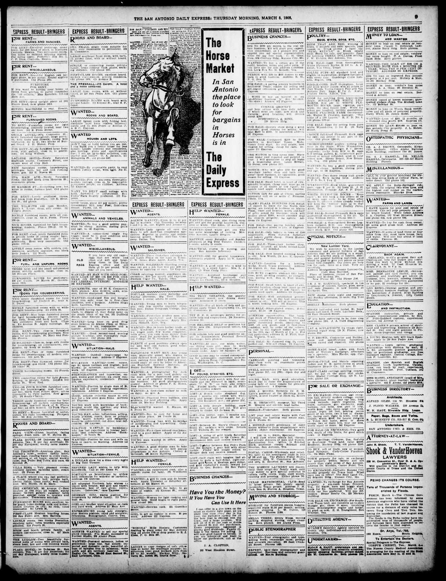 The Daily Express. (San Antonio, Tex.), Vol. 43, No. 65, Ed. 1 Thursday, March 5, 1908 - Page 9 of 12 - The Portal to Texas History